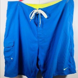 Nike Blue/Lime Green Swim Shorts Mens Sz 36